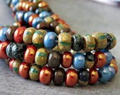 Moon Dust Mix Czech Glass Bead 3/0 Striped Picasso Seed Bead Mix : 6 Inch Strand Aged Seed Bead Mix
