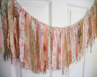 Bridal Shower Rag Tie Banner Lace Wedding Garland Baby Fringe Tea Party Chair Valance Bunting Banner Bride Swag Photography Prop Photo Booth