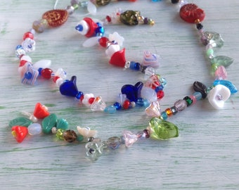 End of Day Beads Flower Leaf Cat Heart snail Pressed Fire Polish Patriotic red white blue