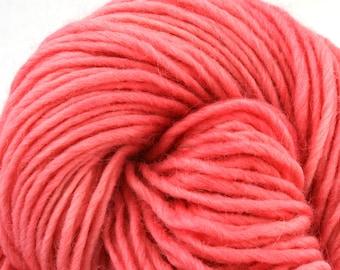Brunswick Hand Dyed chunky weight 70/30 Corriedale wool Mohair blend yarn 140 yds 4oz Bubblegum