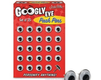 Googly Eye Push Pins / Set of 25 / Personify Anything