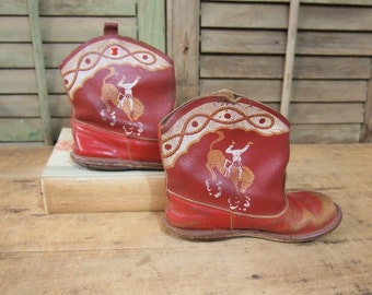 Red child Cowboy boots Vintage western costume Kid Mancave halloween
