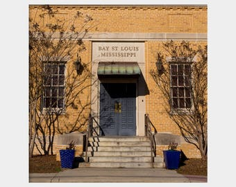 Bay St. Louis Post Office Photo, Storefront Photo, Old Building Photo, Brick Building Photo, Mississippi Photo, Architecture Photo