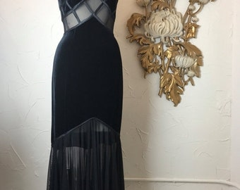 Fall sale 1990s dress black gown mermaid dress tadashi gown velvet gown size sleeveless gown formal dress