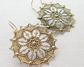 Sale 20% off Medallion Earrings, Silver Medallion Earrings, Pewter Earrings, Gift for Her Jewelry