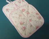 Cotton Fabric Pink Roses Quilted Fabric Potholders sewbuzyb