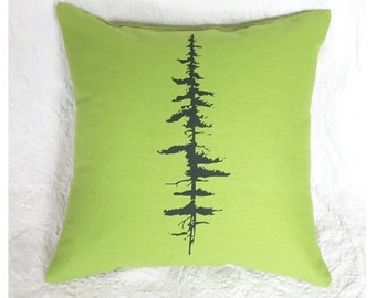Pine Tree Pillow Cover 16 x 16 Lime Green