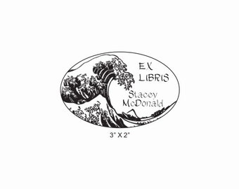 The Great Wave Custom Ex Libris Bookplate Library Rubber Stamp O29