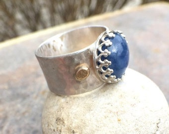 25% Off - Sterling Silver Kyanite 22K Gold Fancy Bezel Set Wide Band Ring - US Size 5