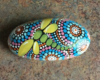 Hand painted Dragonfly Stone