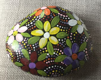 Hand painted Stone, flowers, rock, paperweight