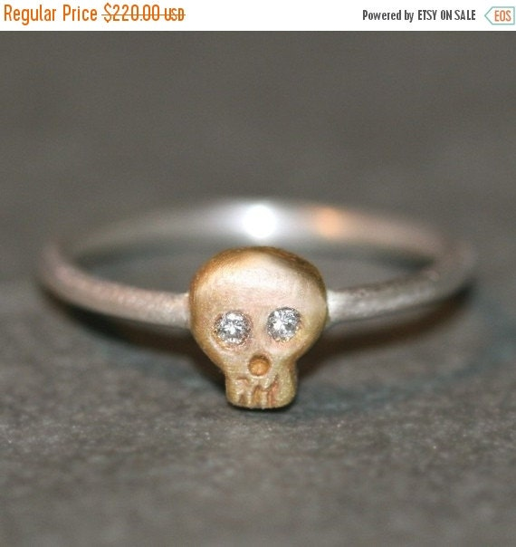 30% OFF WINTER SALE Baby Skull Ring in 14K Gold and Silver with Diamonds