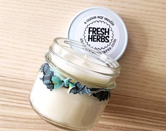 fresh herbs scented natural soy wax candle - 4 ounces /// Great gift for all, travel candle, under 15, birthday, valentine's day, kitchen