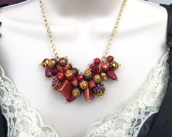 Red Necklace, Bead Cluster Necklace, Christmas Necklace, Statement Necklace, Gift for Her, Red Jewelry, Christmas Colours, Red and Gold