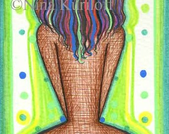 Nude Woman Original Art drawing female figurative Black African American BBW