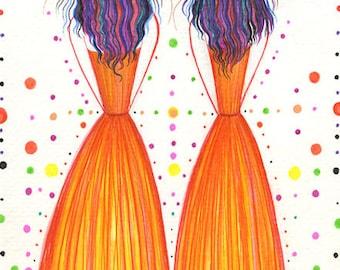 Original Portrait  Modern Orange dress Wall Art Decor Women Female