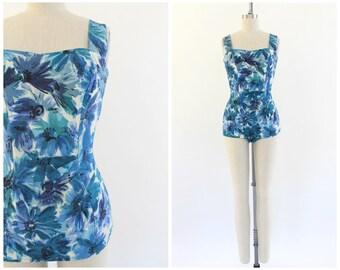vintage 1950s blue floral one-piece bathing suit | 50s floral swimsuit | vtg swimwear | small