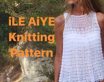 Knitting Pattern / tank top, loose knit blouse, tunic, cotton & linen mix tank, swing top tunic