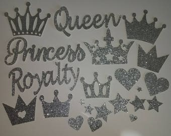 GLITTER Royalty Queen Princess Crowns Hearts and Stars Die Cuts set of 22