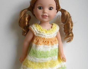"14.5"" Doll Clothes Hand Knit Dress Handmade to fit Wellie Wishers Doll - Yellow Orange Green White Summer Dress"