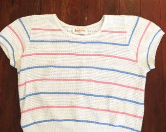 Vintage 1980s womens knit sweater shirt. Size M
