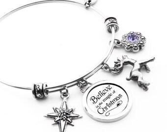 Christmas Bangle Bracelet with Reindeer Charm, Northern Star and Tanzanite Crystal