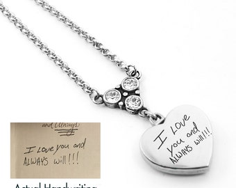 Handwriting Pendant, Writing Charm, Signature Pendant, Handwriting engraved on heart with birthstone