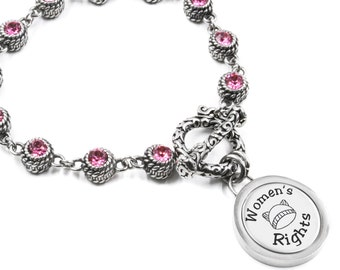 Pink Pussyhat, Women's March Bracelet, Nasty Woman, Women's Rights Bracelet, Pussyhat Bracelet, Resist Bracelet, Stainless Steel