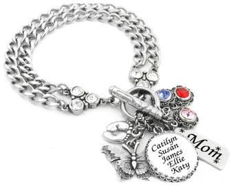 Children's Names Jewelry - Grandchildren's - Mommy Bracelet - Children's Birthstones - Kids  - Mom