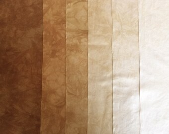 Gold  Shades - hand dyed Fabric - 6 pc Fat Eights Gradation Bundle - 380