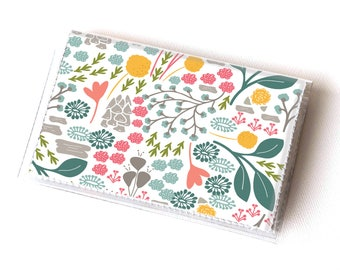 Vinyl Card Holder - Flora Fields / vegan, floral, flowers, summer, card case, vinyl wallet, women's wallet, small wallet, gift, spring, cute