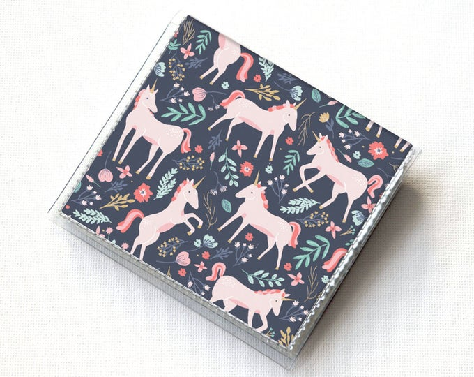 Vinyl Moo Square Card Holder - Unicorn Forest / magical, mythical, snap, mini card case, moo case, small, square, gift, floral, flowers