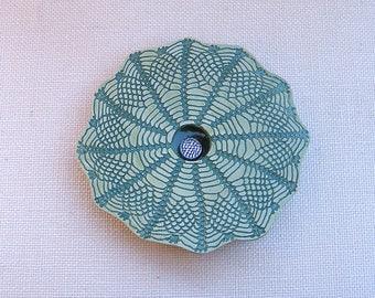 Doily Lace Ikebana Vase, Handmade Pottery Vase, Ceramic Flower Vase, Pin Frog Vase, Fern Green