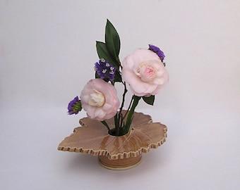 Ceramic Vase, Grape Leaf, Handmade Pottery, Kiln Fired Pottery, tan