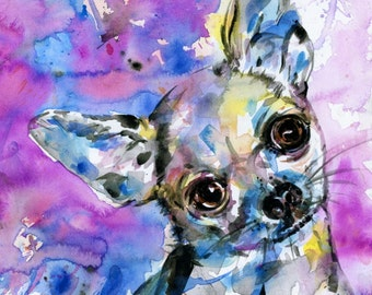 Chihuahua Dog Painting, Large Dog portrait Pet art archival Giclée print from original painting by Kathy Morton Stanion EBSQ