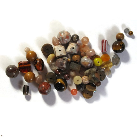 Brown Gemstone Bead Mix, Gemstone Grab Bag, 50 Beads for Making Jewelry, Assorted Shapes and Sizes (L-Mix25b)