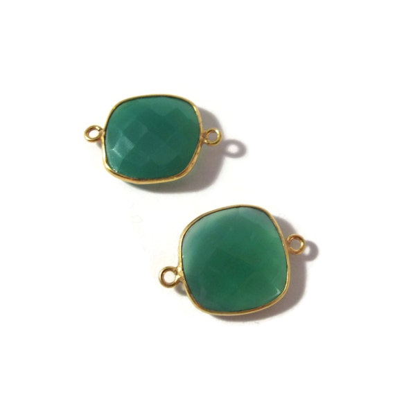 2 Green Onyx Pendants, Matched Pair of Gold Plated Irregular 22mm x 16mm Square Bezel Pendants with Two Loops (C-Go3)