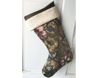 Elegant Victorian Christmas Stocking - Brown Jacobean Modern Heirloom Holiday Decor