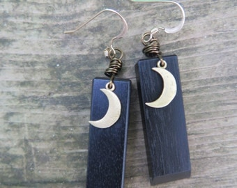 Black Wood & Crecent Moon Earrings - Ebony Jet - Brass and Gold Filled - Boho Luxe - Wooden Jewelry - Wanderlust - Free Spirted Good Vibes