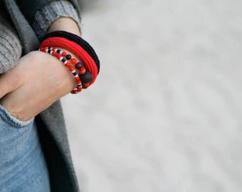 Coil crochet beaded bracelet on memory wire