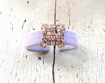 Pale Periwinkle Adjustable Cuff with Rhinestones