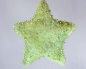Little Green  Star- Wool Handmade Beaded Ornament- Original Winter Home Decor Accent