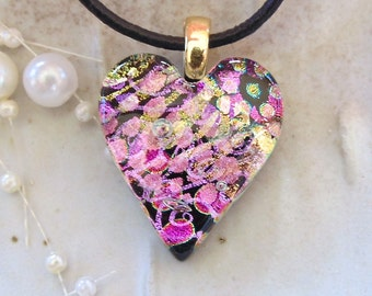 Pink Necklace, Heart Pendant, Dichroic Jewelry, Necklace, Necklace Included, One of a Kind, A8