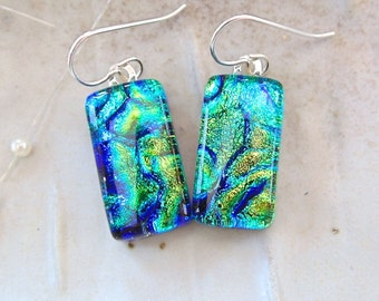 Green Earrings, Blue, Gold, Dichroic Glass Earrings, Fused Glass Jewelry, Dangle, Sterling Silver, A1
