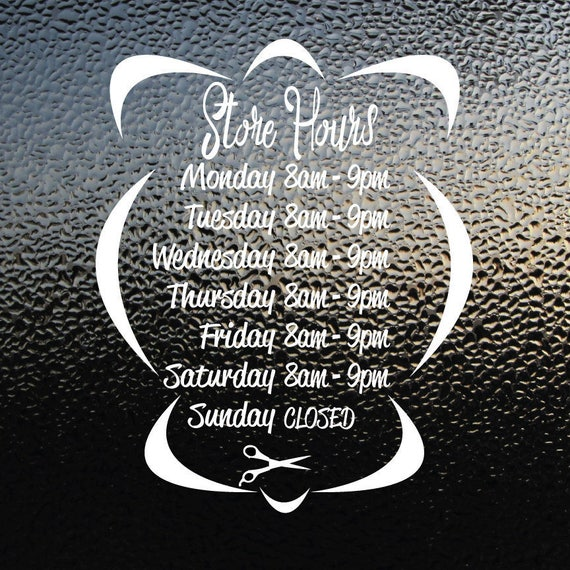 Store Hours Decal Restaurant Hours Decal Business Hours Decal - Window stickers for business hours