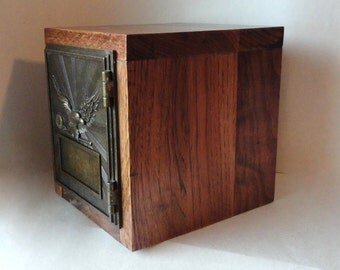 RESERVED for JOE Knotty Hardwood Safe Vintage Bronzed Eagle Post Office Door Bank Mailbox Key Lock Box Groomsman Aluminum 10th 7 Anniversary