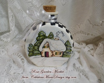 Stately Checked Winter Scene Rounded Bottle, Hand Painted Country Winter, Black and White Checks, ECS