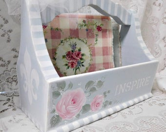 Inspire Wood Tote, Hand Painted, Handmade, Soft Blue, Hand Painted Pink Roses, Original Design, Storage, Display, Gift Box, Shabby Chic,ECS