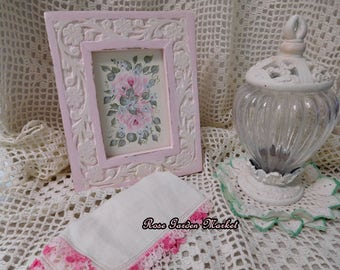 Framed Roses and Aqua Flowers Hand Painted Canvas Painting in Pink and White Distressed Frame with Carved Accent, Shabby Chic Decor, ECS