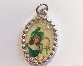 Tiny Charm St Patrick's Day Girl with Clovers Vintage Image